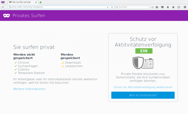 Der private Modus von Firefox 42 enthält einen Trackingschutz. (Screenshot: Golem.de)