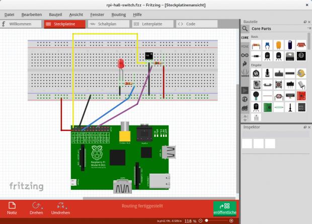 Beim Entwickeln der Schaltung kommt die Open-Source-Elektrotechnik-App Fritzing zum Einsatz. (Bild: Michelle Leonhart)