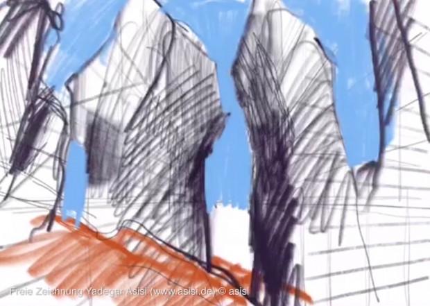 Was erst wie ein Gebäude aussieht, entpuppt sich als Felslandschaft. (Bild: Yadegar Asisi)