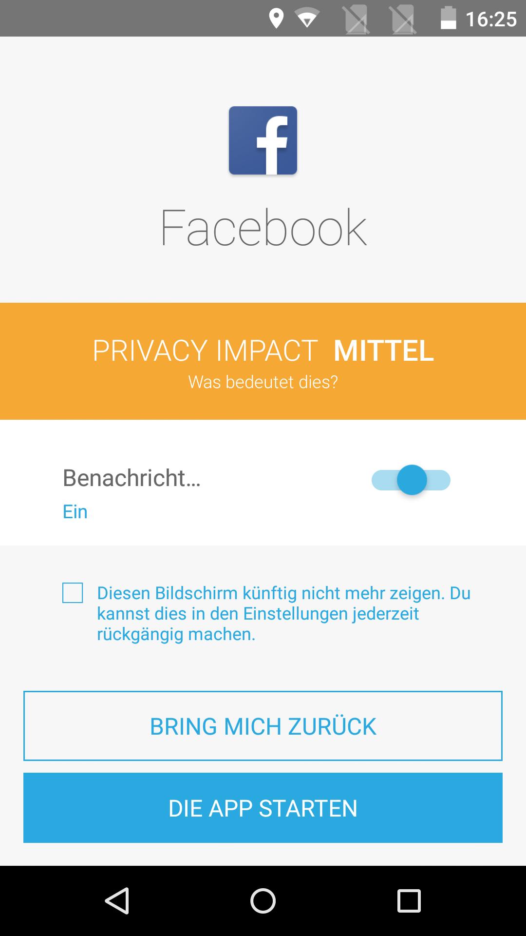 Fairphone 2 im Test: Fairer, phoniger und noch dazu modular - Facebook etwa erreicht nur eine mittlere Einstufung beim Privacy Impact. (Screenshot: Golem.de)