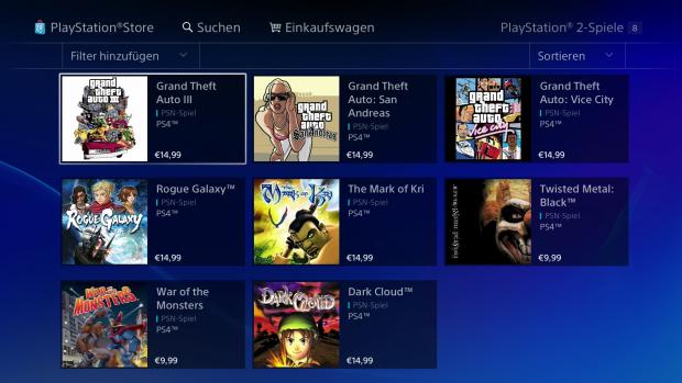 Diese acht PS2-Spiele sind nun für die Playstation 4 verfügbar. (Screenshot: Golem.de)