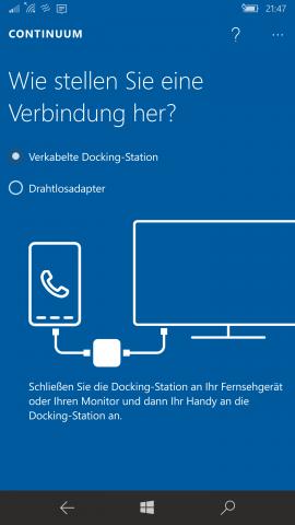 Continuum funktioniert drahtlos oder per Kabel. (Screenshot: Golem.de)