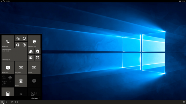 Der Homescreen wird zum Startmenü. (Screenshot: Golem.de)