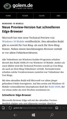 Der Edge-Browser ist flott, ... (Screenshot: Golem.de)