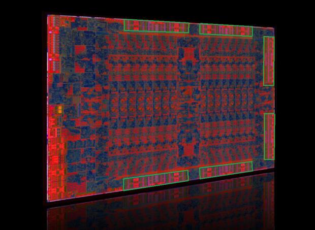 Die-Shot von Tonga, die sechs 64-Bit-MCs haben wir grün markiert. (Bild: AMD)