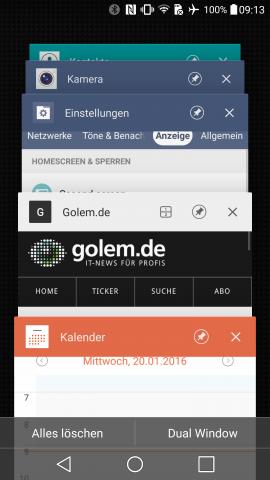 Die Liste der zuletzt aufgerufenen Apps kann mit einem Knopfdruck gelöscht werden. (Screenshot: Golem.de)