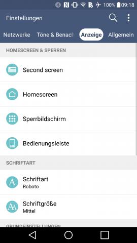 Das Einstellungsmenü von LGs V10 (Screenshot: Golem.de)