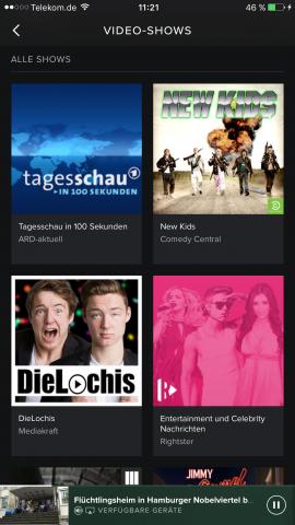 Videorubrik von Spotify unter iOS (Screenshot: Golem.de)
