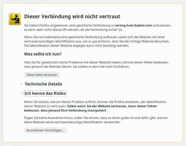 Die alte Warnseite aus Firefox 43 ... (Bild: Screenshot Golem.de)