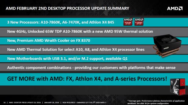 Präsentation zu neuen APUs, Athlons und CPU-Kühlern (Bild: AMD)