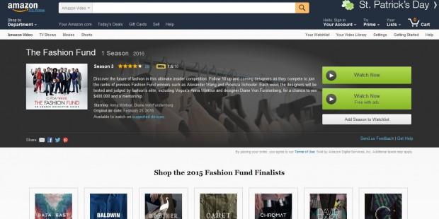 The Fashion Fund - Amazons US-Kunden können die Serie auch ohne Bezahlung sehen, dann aber mit Werbung. (Screenshot: Golem.de)