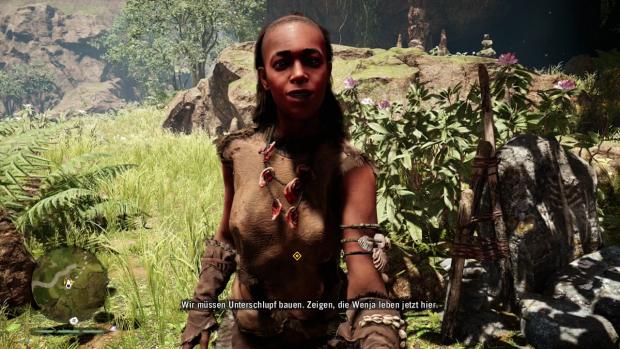 Die Figuren sprechen in einer Steinzeit-Sprache, dazu gibt es Untertitel. (Screenshot: Golem.de)
