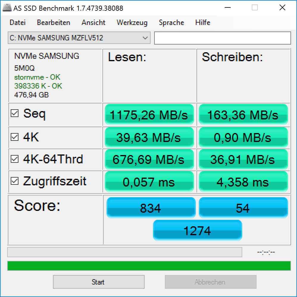 Surface Book im Test: Schon fast der ultimative Laptop - SSD des Surface Book (Screenshot: Golem.de)