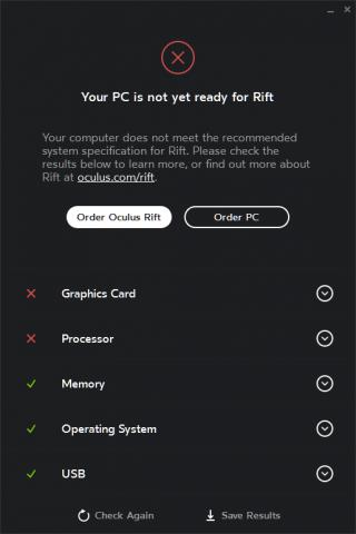 Das Rift Compatibility Tool schlägt vor, einen neuen Rechner zu bestellen. (Bild: Oculus VR)