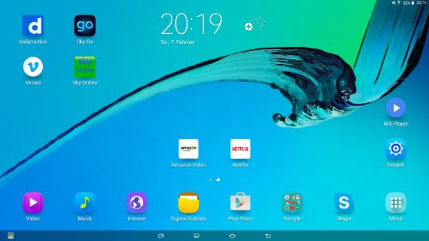 Startbildschirm des Galaxy View (Bild: Screenshot Golem.de)