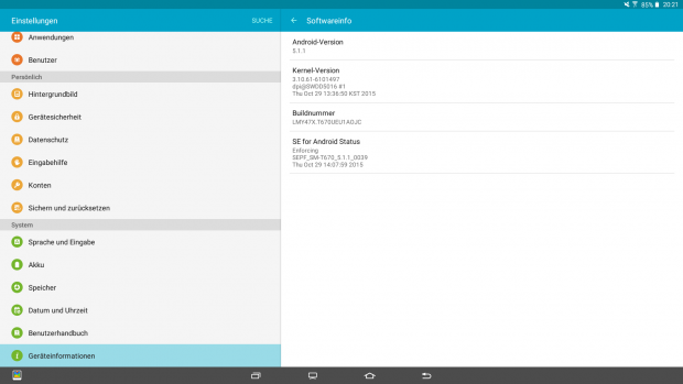 Das Galaxy View läuft mit Android 5.1 alias Lollipop. (Bild: Screenshot Golem.de)