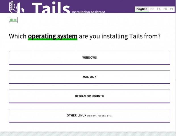 Der neue Tails Installer beschreibt Methoden, wie Tails 2.0 von Linux, Windows oder Mac OS X auf einen USB-Stick installiert werden kann. (Screenshot: Jürgen Donauer)
