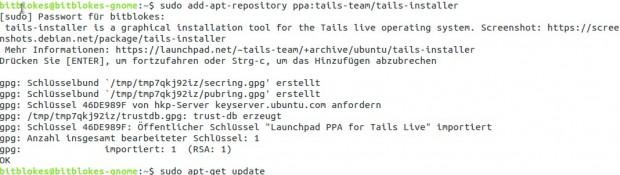 Zunächst wird das entsprechende PPA aktiviert.  (Screenshot: Jürgen Donauer)