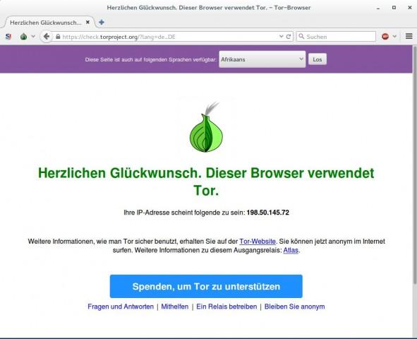 Nutzer können schnell überprüfen, dass sie wirklich via Tor unterwegs sind. (Screenshot: Jürgen Donauer)