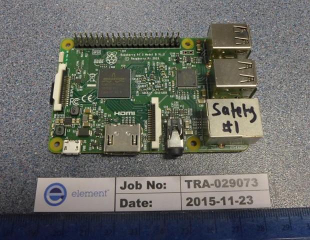 Front des Raspberry Pi 3 (Foto: FCC-Bericht)