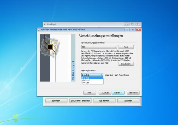 ... SHA-265 ersetzt. Veracrypt kann mit Truecrypt verschlüsselte Container und Partitionen dennoch öffnen. (Screenshot: Jörg Thoma)
