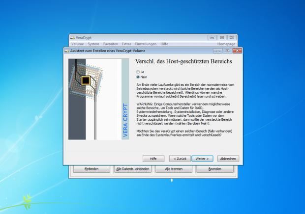 Verschlüsselte geschützte Bereiche können unter Umständen Probleme bereiten, etwa bei der Wiederherstellung eines Systems. (Screenshot: Jörg Thoma)