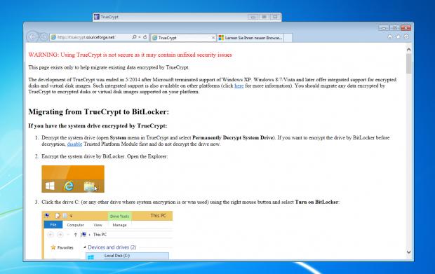 Die Truecrypt-Entwickler empfehlen den Umstieg auf Bitlocker von Windows. Veracrypt ist aber die bessere Wahl. (Screenshot: Jörg Thoma)
