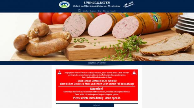 Der Wursthersteller warnt vor der Spam-Mail auf seiner Webseite. (Screenshot: Golem.de)