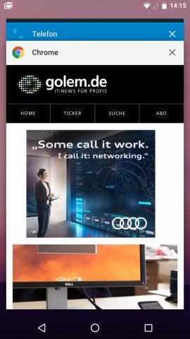 In der Übersicht der zuletzt genutzten Apps wurden die Karten vergrößert. (Screenshot: Golem.de)