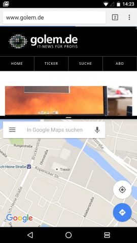 Neu ist ein Mehrfachfenstermodus, bei dem zwei Apps gleichzeitig auf dem Bildschirm angezeigt werden können. (Screenshot: Golem.de)
