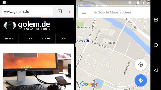 Hier der Mehrfachfenstermodus im Querformat (Screenshot: Golem.de)