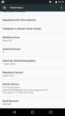 Android-Version: N - einen offiziellen Codenamen oder eine Versionsnummer gibt es noch nicht. (Screenshot: Golem.de)