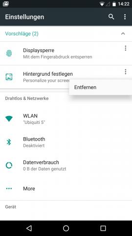 Die Vorschläge im oberen Bereich des Einstellungsmenüs lassen sich entfernen. (Screenshot: Golem.de)