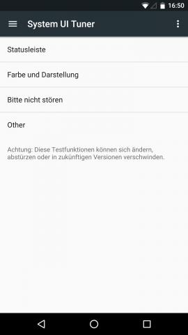 Auch unter Android N bietet der System UI Tuner weitere Optionen an, um die Benutzeroberfläche anzupassen. (Screenshot: Golem.de)