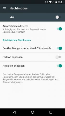 Ein Nachtmodus verringert abends automatisch die Helligkeit und kann den Bildschirm rot einfärben. (Screenshot: Golem.de)
