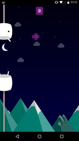 Versteckter Flappy-Birds-Klon in Android N (Screenshot: Golem.de)