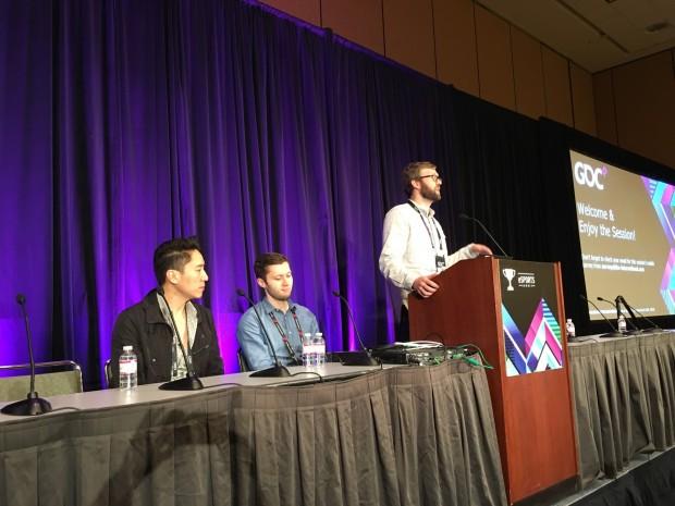 Dennis Fong, Stephen Ellis und Moderator Nick Allen (Twitch) (Foto: Peter Steinlechner/Golem.de)