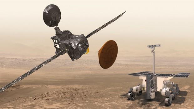 Der TGO, die experimentelle Landeeinheit Schiaparelli und der für das Jahr 2018 vorgesehene Mars-Rover des Exomars-Projekts (Bild: Esa)