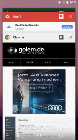 Der erweiterte Fenstermodus ist über die Übersicht der aktuell genutzten Apps erreichbar. (Screenshot: Golem.de)