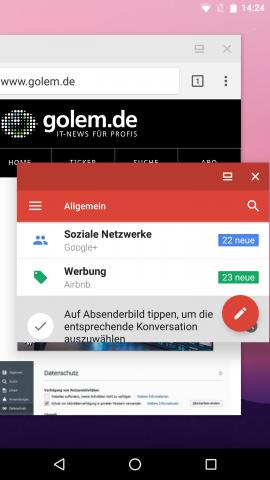Zwei in schwebenden Fenstern geöffnete Apps (Screenshot: Golem.de)