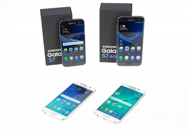 Das Galaxy S7 und Galaxy S7 Edge mit den Vorgängern: links das Galaxy S6, rechts das Galaxy S6 Edge (Bild: Martin Wolf/Golem.de)