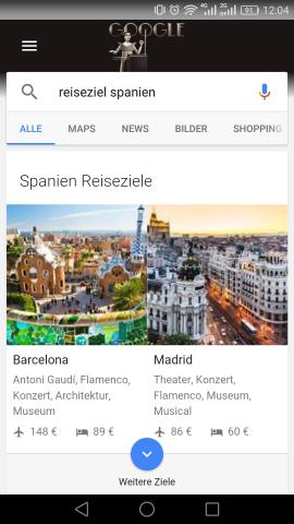 Suchen wir nach Spanien, erhalten wir verschiedene Städte als mögliche Ziele unserer Reise. (Screenshot: Golem.de)