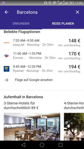 """Buchen können wir hier aber nichts, und die Schaltfläche """"Flüge auf Google ansehen"""" führt zu einer nutzlosen Google-Suche - hier besteht dringend Verbesserungsbedarf. (Screenshot: Golem.de)"""