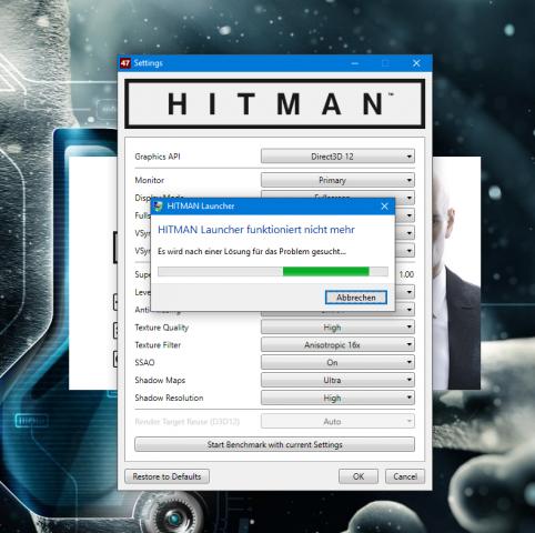Hitman stürzt teils im Launcher ab (Screenshot: Marc Sauter/Golem.de)