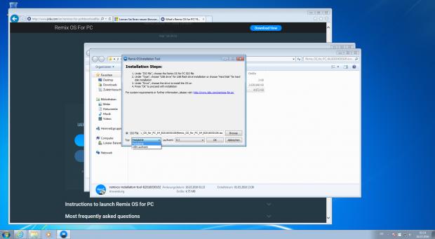 Remix OS lässt sich neuerdings auch unter Windows installieren statt nur auf einem USB-Stick. (Screenshot: Jörg Thoma)