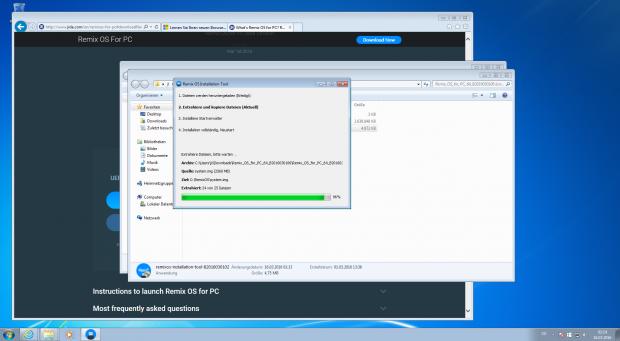 Der Installer legt Abbilddateien des Systems und einer Datenpartition unter Windows ab, die Partitionen selbst werden nicht verändert. (Screenshot: Jörg Thoma)