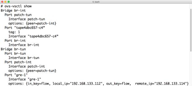 """Open vSwitch legt auf den SDN-Hosts virtuelle Switches an, deren Konfiguration mittels """"ovs-vsctl show"""" einsehbar ist. (Screenshot: Martin Loschwitz)"""