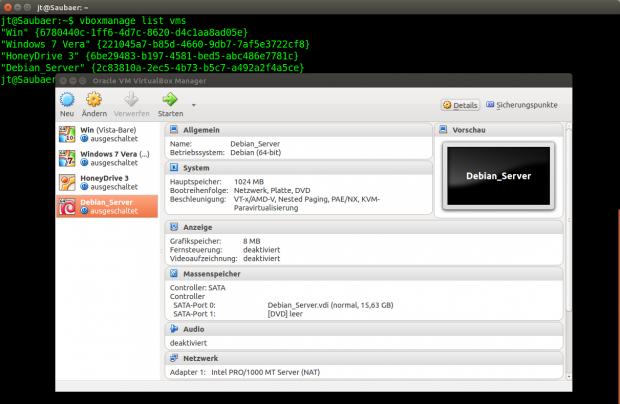 Virtualbox lässt sich auch ohne grafische Oberfläche bedienen. (Screenshot: Jörg Thoma)
