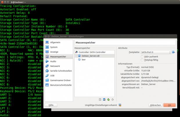 Über die Kommandozeile lassen sich Controller und virtuelle Festplatten hinzufügen. (Screenshot: Jörg Thoma)<br>
