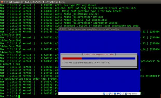 Über den seriellen Port kann die Protokollierung des Debian-Installers mitgelesen werden. (Screenshot: Jörg Thoma)